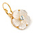 Gold Plated Mother Of Pearl Crystal Flower Drop Earrings With Leverback Closure - 28mm L - view 8