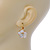 Gold Plated Mother Of Pearl Crystal Flower Drop Earrings With Leverback Closure - 28mm L - view 3