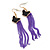Black Enamel Butterfly & Purple Chain Dangle Earrings In Gold Plating - 85mm Length - view 2