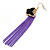 Black Enamel Butterfly & Purple Chain Dangle Earrings In Gold Plating - 85mm Length - view 3