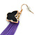 Black Enamel Butterfly & Purple Chain Dangle Earrings In Gold Plating - 85mm Length - view 5