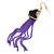 Black Enamel Butterfly & Purple Chain Dangle Earrings In Gold Plating - 85mm Length - view 6