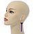 Black Enamel Butterfly & Purple Chain Dangle Earrings In Gold Plating - 85mm Length - view 7
