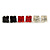 Set Of 3 Classic Crystal Square Cut Stud Earrings In Silver Tone (Red/ Black/ Clear) - 8mm