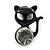Teen's Black Crystal Kitty Stud Earrings In Silver Tone Metal - 12mm Length - view 6