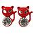 Teen's Red Crystal Kitty Stud Earrings In Silver Tone Metal - 12mm Length