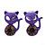 Teen's Purple Crystal Kitty Stud Earrings In Silver Tone Metal - 12mm Length
