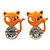 Teen's Orange Crystal Kitty Stud Earrings In Silver Tone Metal - 12mm Length