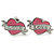 PINK COOKIE IN PURSE Swallow, Rose, Heart Stud Earring Set In Rhodium Plating - view 2