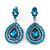 Light Blue Austrian Crystal Teardrop Earrings In Rhodium Plating - 50mm Length