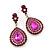 Magenta Austrian Crystal Teardrop Earrings In Rhodium Plating - 50mm Length - view 2