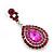 Magenta Austrian Crystal Teardrop Earrings In Rhodium Plating - 50mm Length - view 3