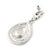 Magenta Austrian Crystal Teardrop Earrings In Rhodium Plating - 50mm Length - view 4