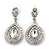 Bridal/ Prom/ Wedding Clear Austrian Crystal Teardrop Earrings In Rhodium Plating - 50mm Length
