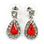Small Red, Clear Crystal Teardrop Earrings In Rhodium Plating - 25mm Length