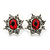 Small Ruby Red, Clear Diamante Stud Earrings In Silver Plating - 15mm In Length