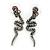 Hematite Crystal Snake Drop Earrings In Black Tone Metal - 45mm L