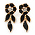 Black Enamel, Clear Crystal Flower Drop Earrings In Gold Plating - 40mm Length