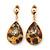 Animal Print, Crystal Teardrop Earrings In Gold Plating - 45mm Length