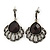Hematite Crystal Feather Marcasite Drop Earring In Antique Silver Tone - 37mm Length