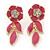 Pink Enamel, Clear Crystal Flower Drop Earrings In Gold Plating - 40mm Length