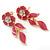 Pink Enamel, Clear Crystal Flower Drop Earrings In Gold Plating - 40mm Length - view 6