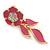 Pink Enamel, Clear Crystal Flower Drop Earrings In Gold Plating - 40mm Length - view 4