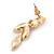 Pink Enamel, Clear Crystal Flower Drop Earrings In Gold Plating - 40mm Length - view 5