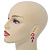 Pink Enamel, Clear Crystal Flower Drop Earrings In Gold Plating - 40mm Length - view 2