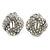 Clear Crystal 'Donut' Clip On Earrings In Rhodium Plating - 20mm Diameter
