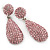Bridal, Prom, Wedding Pave Pink Austrian Crystal Teardrop Earrings In Rhodium Plating - 48mm Length - view 10
