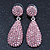 Bridal, Prom, Wedding Pave Pink Austrian Crystal Teardrop Earrings In Rhodium Plating - 48mm Length - view 2