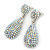 Bridal, Prom, Wedding Pave AB Austrian Crystal Teardrop Earrings In Rhodium Plating - 48mm Length - view 10