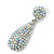 Bridal, Prom, Wedding Pave AB Austrian Crystal Teardrop Earrings In Rhodium Plating - 48mm Length - view 4