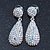 Bridal, Prom, Wedding Pave AB Austrian Crystal Teardrop Earrings In Rhodium Plating - 48mm Length - view 5