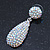 Bridal, Prom, Wedding Pave AB Austrian Crystal Teardrop Earrings In Rhodium Plating - 48mm Length - view 6