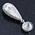 Bridal, Prom, Wedding Pave AB Austrian Crystal Teardrop Earrings In Rhodium Plating - 48mm Length - view 7