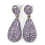 Bridal, Prom, Wedding Pave Light Amethyst Austrian Crystal Teardrop Earrings In Rhodium Plating - 48mm Length