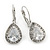 Classic Cz Teardrop Earrings With Leverback Closure In Rhodium Plating - 30mm Length