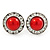 Red Acrylic Bead, Diamante Button Stud Earrings In Silver Tone - 15mm Diameter