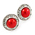 Red Acrylic Bead, Diamante Button Stud Earrings In Silver Tone - 15mm Diameter - view 2