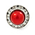 Red Acrylic Bead, Diamante Button Stud Earrings In Silver Tone - 15mm Diameter - view 3