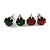 8mm Set Of 4 Round Jewelled Stud Earrings In Silver Tone Red/ Green/ Blue/ Purple - view 3