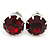 8mm Set Of 4 Round Jewelled Stud Earrings In Silver Tone Red/ Green/ Blue/ Purple - view 4