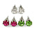 8mm Set Of 4 Round Jewelled Stud Earrings In Silver Tone Blue/ Magenta/ Green/ Clear - view 2