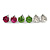 8mm Set Of 4 Round Jewelled Stud Earrings In Silver Tone Blue/ Magenta/ Green/ Clear - view 3