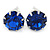 8mm Set Of 4 Round Jewelled Stud Earrings In Silver Tone Blue/ Magenta/ Green/ Clear - view 5