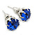 8mm Set Of 4 Round Jewelled Stud Earrings In Silver Tone Blue/ Magenta/ Green/ Clear - view 7