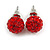 10mm Red Crystal Ball Stud Earrings In Silver Tone
