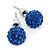 10mm Sapphire Blue Crystal Ball Stud Earrings In Silver Tone - view 2